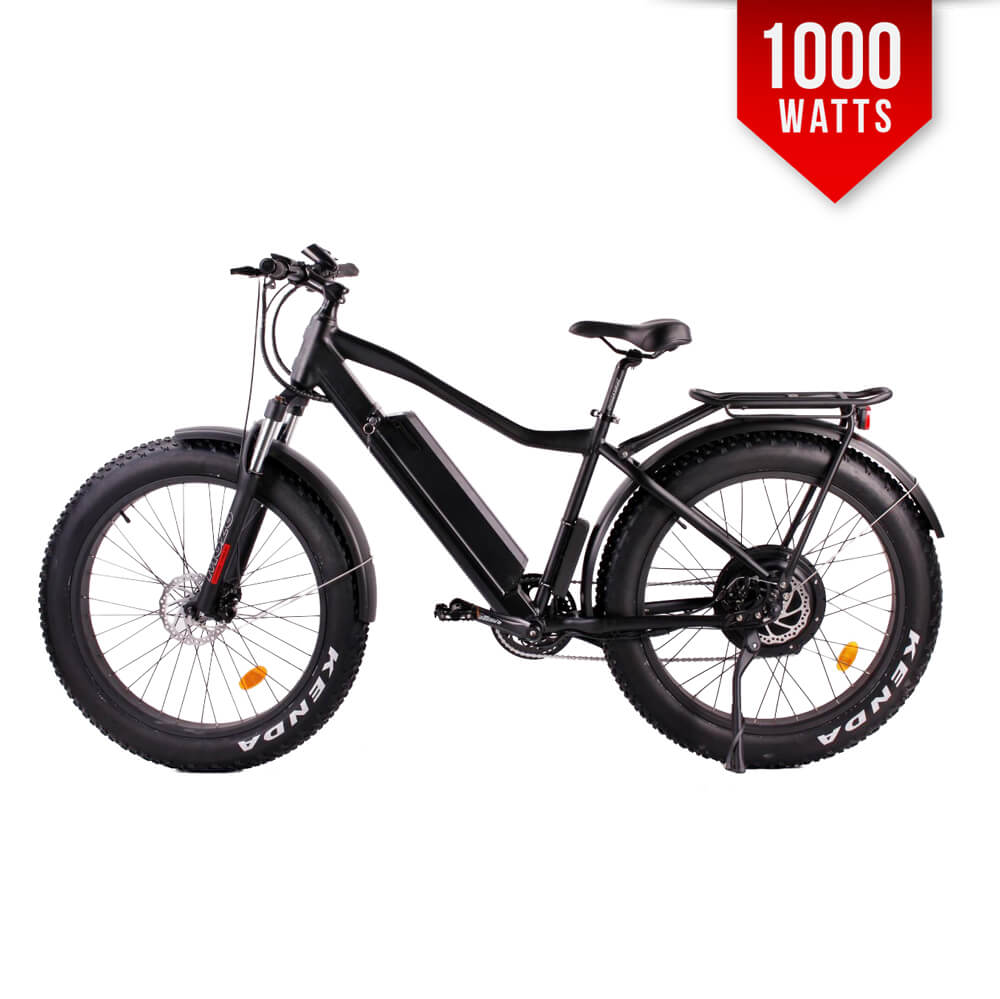 f0362df912e F-1000 Matte Black 1000W Mid Drive Fat Tire Electric Bike 26 Fat Tire