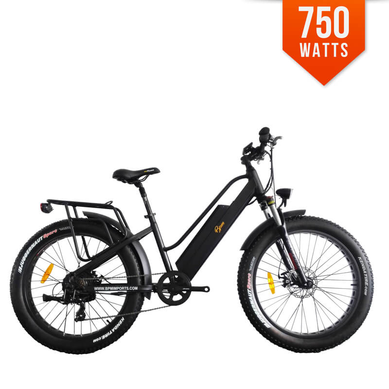 g 890 black frame 750w step through fat tire electric bicycle. Black Bedroom Furniture Sets. Home Design Ideas